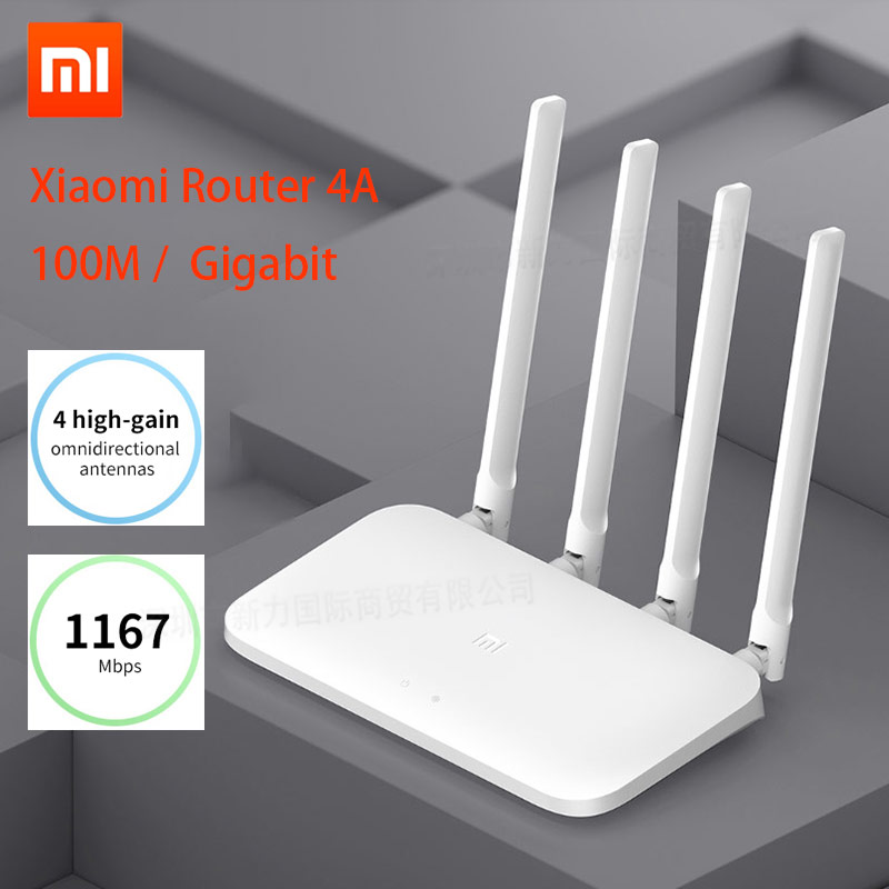 Xiaomi Mi Router 4A Gigabit Edition 100M 2.4GHz 5GHz WiFi 16MB ROM 64MB DDR3 High Gain 4 Antennas Remote APP Control(China)