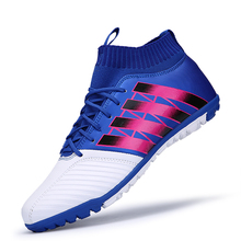 Sale Men football sock boots crampons flying weaving Football Shoes with ankle futsal ball training soccer boots wholesale sport shoe