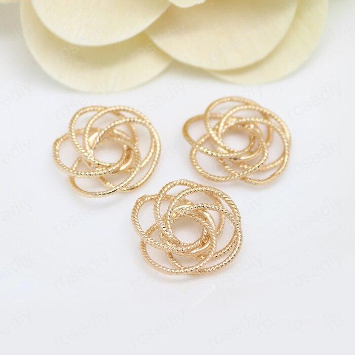 6PCS 19MM 24K Ouro Champagne Cor de Bronze Banhado A Flor Rosa Encantos Pingentes de Alta Qualidade Diy Jóias e Acessórios