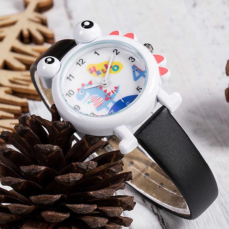 KDM 2019 mignon enfants regarder de beaux enfants garçons montres dessin animé dinosaure étanche en cuir véritable enfant montre-bracelet étudiants horloge
