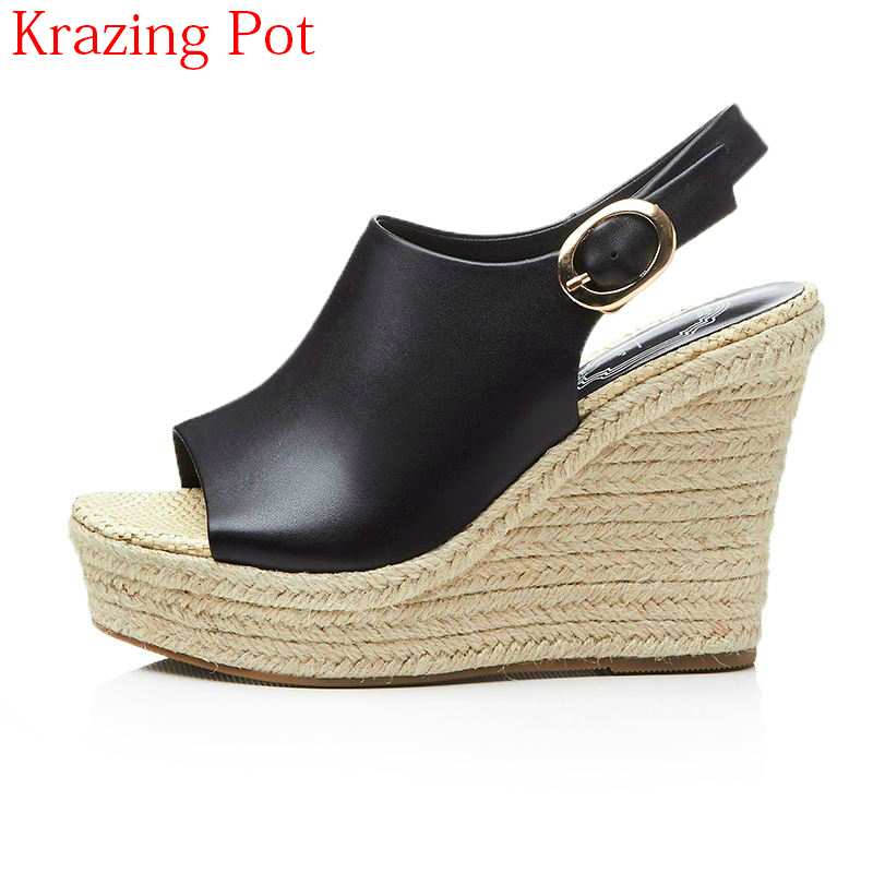 купить Fashion Genuine Leather Ankle Straps Peep Toe Slingback Platform Women Sandals High Heels Classics Thick Bottom Wedges Shoes L79 по цене 3641.27 рублей