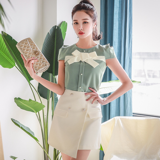 Dabuwawa New Summer Women Mint Green Blouses Ladies Sweet Solid  Elegant Bow Shirts Tops D18BST391
