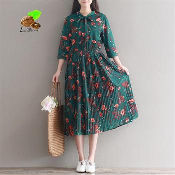 Mori Girl Vintage Retro Floral Print Long Chiffon Pleated Dresses 2018 New Spring Summer Women Flowers Brand Dresses Plus Size girl