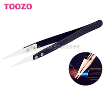 Ceramic Tips Tweezers Stainless Steel Handle Straight Aimed Tweezers For Coils #G205M# Best Quality