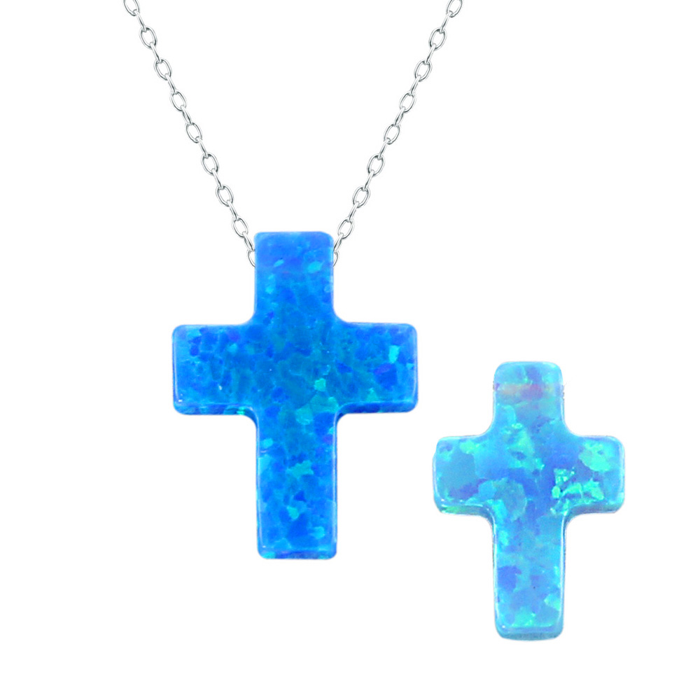 Cross blue opal necklace pendant blue stone necklace women jewelry silver sterling