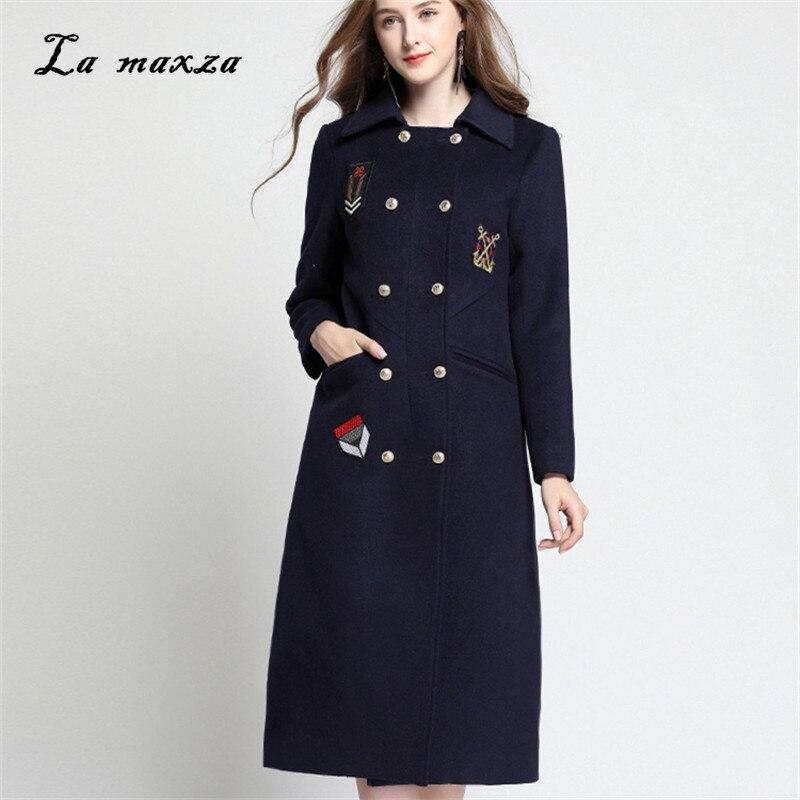 Femme 5xl Casual Poches Manteau Mode Laine D'hiver Coréenne Style Manteaux 2018 Plus Long Taille b7yY6fgv
