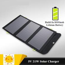 Solar charger 21W 5V Dual USB output Mobil phone charger with 8000mah Lithium Battery for Iphone Huawei Xiaomi 99% cell phone