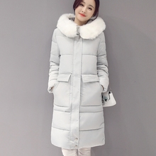 2016 Women Parkas Winter New Female Korean Slim Cotton Long Section Temperament Fur Ladies Coat 4