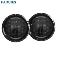 FADUIES 7 Inch Round LED Headlight White Halo For Jeep JK LJ TJ Hummer Angel Eye