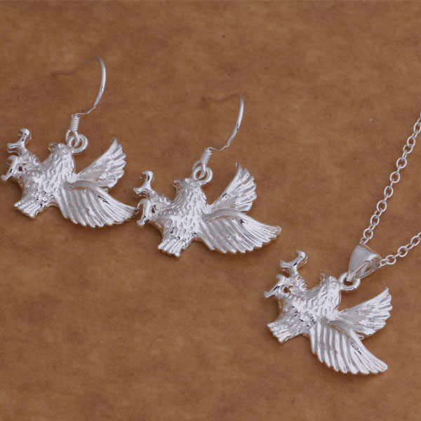 As006 sterling silver Hot set, 925 dicap perhiasan Set anting anting, 012 + kalung 030 / djcamaja bcwajuda