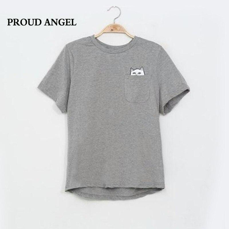 Estilo americano cat impreso mujeres camiseta de algodón negro moda mujer camise