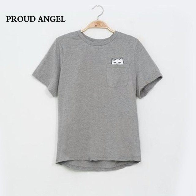 Estilo americano cat impresso mulheres t camisa de algodão preto moda mulher tee tshirt das mulheres da moda