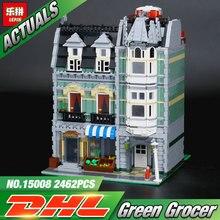 font b Lepin b font 15008 2462Pcs City Street Green Grocer Model Building Kits Blocks