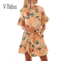 Beach Dress Woman Floral Pattern Ruffle Hem Chiffon Dress bohemian Mini Dress Boho Floral Print Casual Reffles Dress