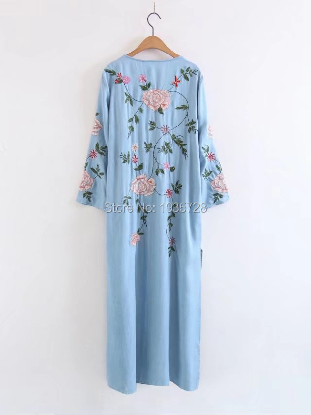 WISHBOP 2017 Fashion Blue Long Kimono Dress V neck With Flowers Embroidered  Sequined Front belt fasten Long sleeves sides slits-in Dresses from Women s  ... d3c81f62e074