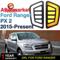 Car styling Halogen fog lights Car Black 2pcs Front Bumper Fog Light Cover Daytime running lights for FORD RANGER 2015 2016 DRL