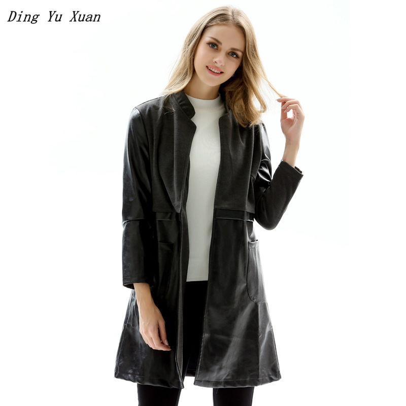 Autumn Faux   Leather   Jacket for Women Stand Collar Long Coat Big Size Black Windbreaker Womens Pu   Leather   Trench Coats 4XL 5XL