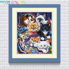 Aliexpress Value Set Wholesale 5pcs/lot Diy Full Resin Round Diamond Painting Cross Stitch Embroidery Cute Cats A Hobby Mosaic