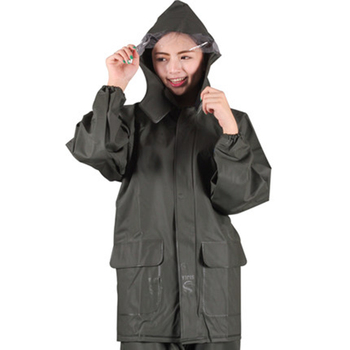 Army Green Raincoat Suit Outdoor Motorcycle Rain Jacket Poncho Rain Coat Pants Men Hooded Waterproof Hiking Impermeable 50yc22
