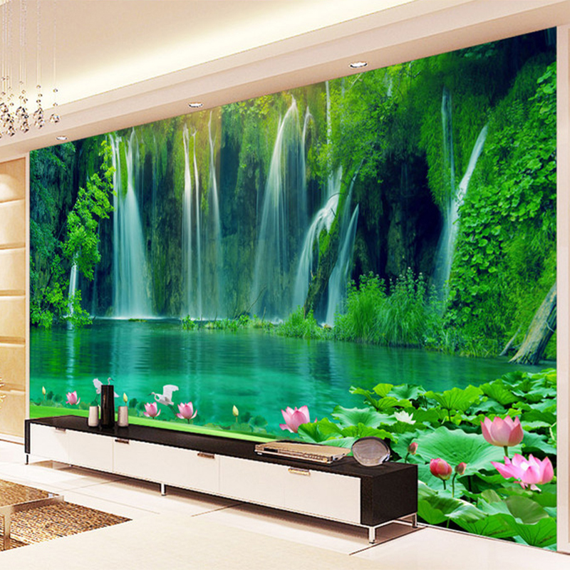Chinese Style Waterfall Running Water 3D Stereo Mural Wallpaper Living Room TV Backdrop Wall Home Decor Landscape Wall Painting