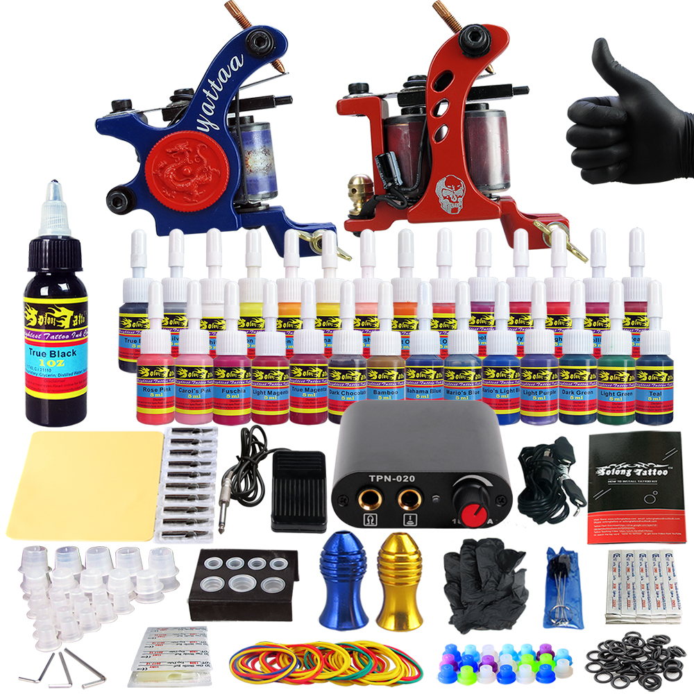 Solong Tattoo complete professional 2 tattoo Machine Guns set Tattoo Kit 28 Inks Needle Grips power supply TK204-35 europe god of darkness robert recommend gp self lock grips gp3 professional tattoo artist grip