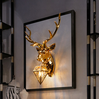 American Lucky Deer Head Wall Lamps Living Room Bedroom Background Decoration Wall Light Hotel Club Creative Fashion Antler Lamp