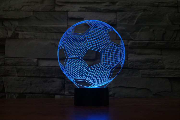 Football soccer 3D table Light toys 2016 New Football hat helmet 7 color changing visual illusion LED lamp party supply deocor