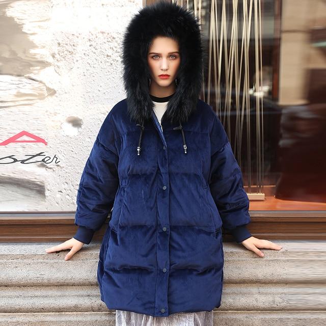 9f6346e7e459 Women down jackets large fur collar high quality thickening velvet women's  medium-long down coat blue women parka