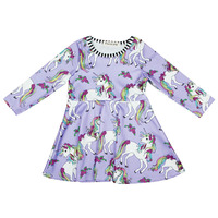 Girls Dress For Spring Summer Fashion Cute Unicorn Floral Print A Line Dress Baby Girls Pink