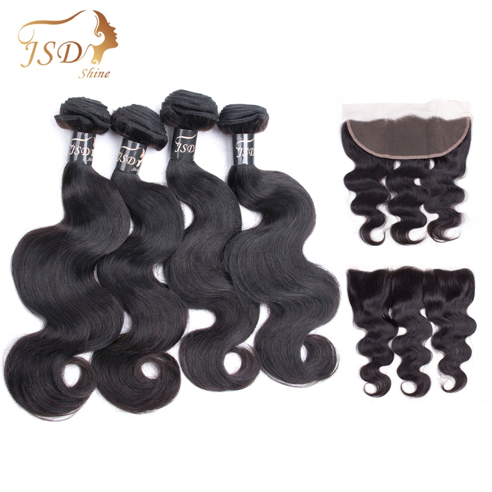 JSDshine Vietnamese Body Wave 4 Bundles Human Hair Bundles With Frontal Closure 13x4 Lace Frontal Closure With Bundles Non-Remy