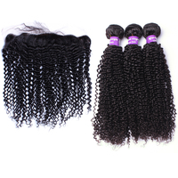 Mongolian Kinky Curly Human Hair Bundles With Frontal Closure 4x4 Silk Base Lace Frontal Closure 3