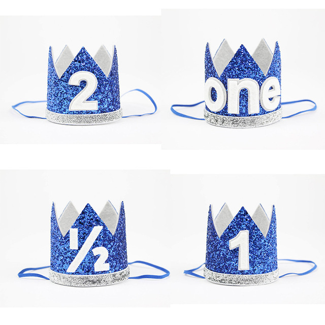 Boy Blue Silver First Birthday Hat Girl Gold Pink Priness Crown Number 1st 2 Year Old Party Glitter Headband