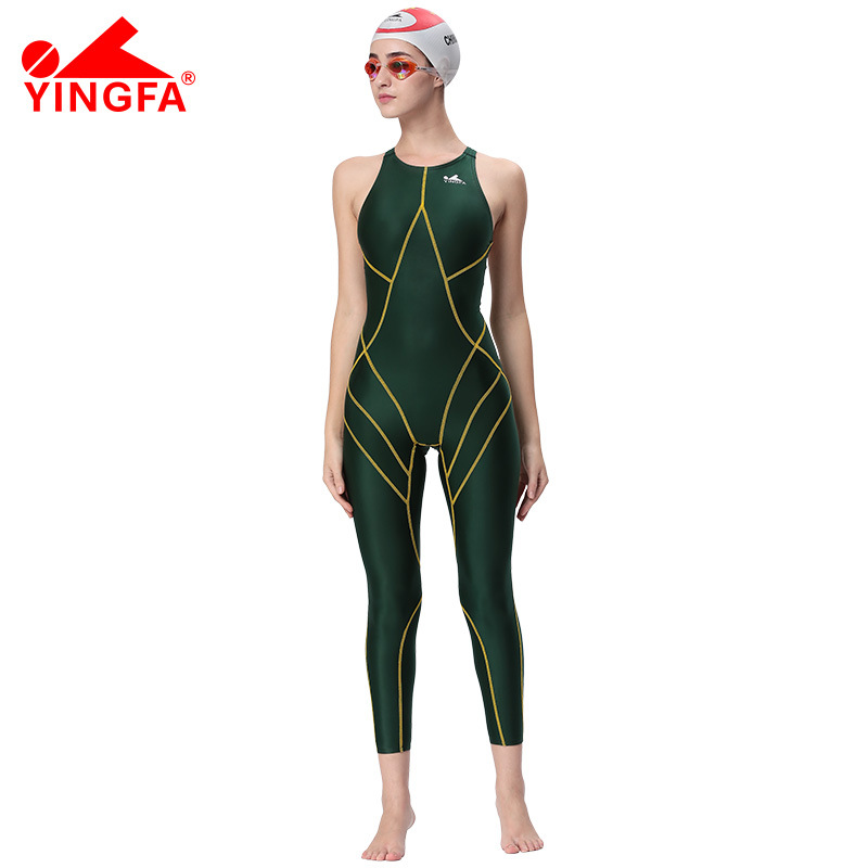 c1fbdb3db4316 Yingfa FINA Approval Professional swimming Training costumes women knee one  piece Swimsuit Sports Competition sharkskin