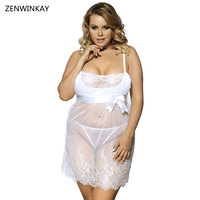 Transparent Nightwear Sexy Chemise White Babydoll Dress Plus Size Lingerie Sexy Erotic Women Langerie with Thong XL XXXL 3XL