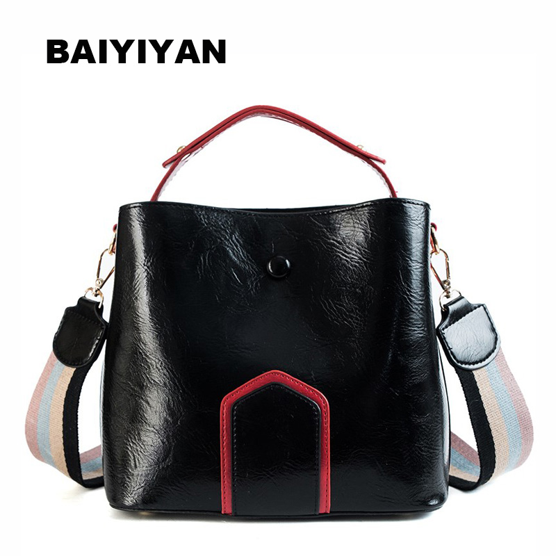 New Exquisite Women Bucket Bag Vintage Oil wax Leather Messenger Bag High Quality Retro Shoulder Bag Simple Crossbody Bag Tote