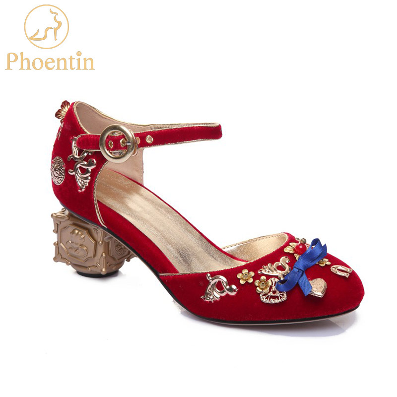 Phoentin red crystal wedding shoes flowers heart shaped decoration strange metal heels butterfly knot buckle pumps