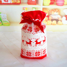 10 Pieces White Red Santa Claus Elk Gift Bags Candy Bags For Merry Christmas