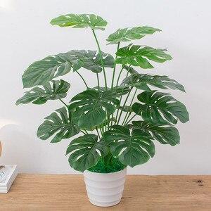 Image 3 - Arbre Monstera artificiel tactile 60CM, fausse plante sans Pot, décoration darbre pour la maison et le jardin