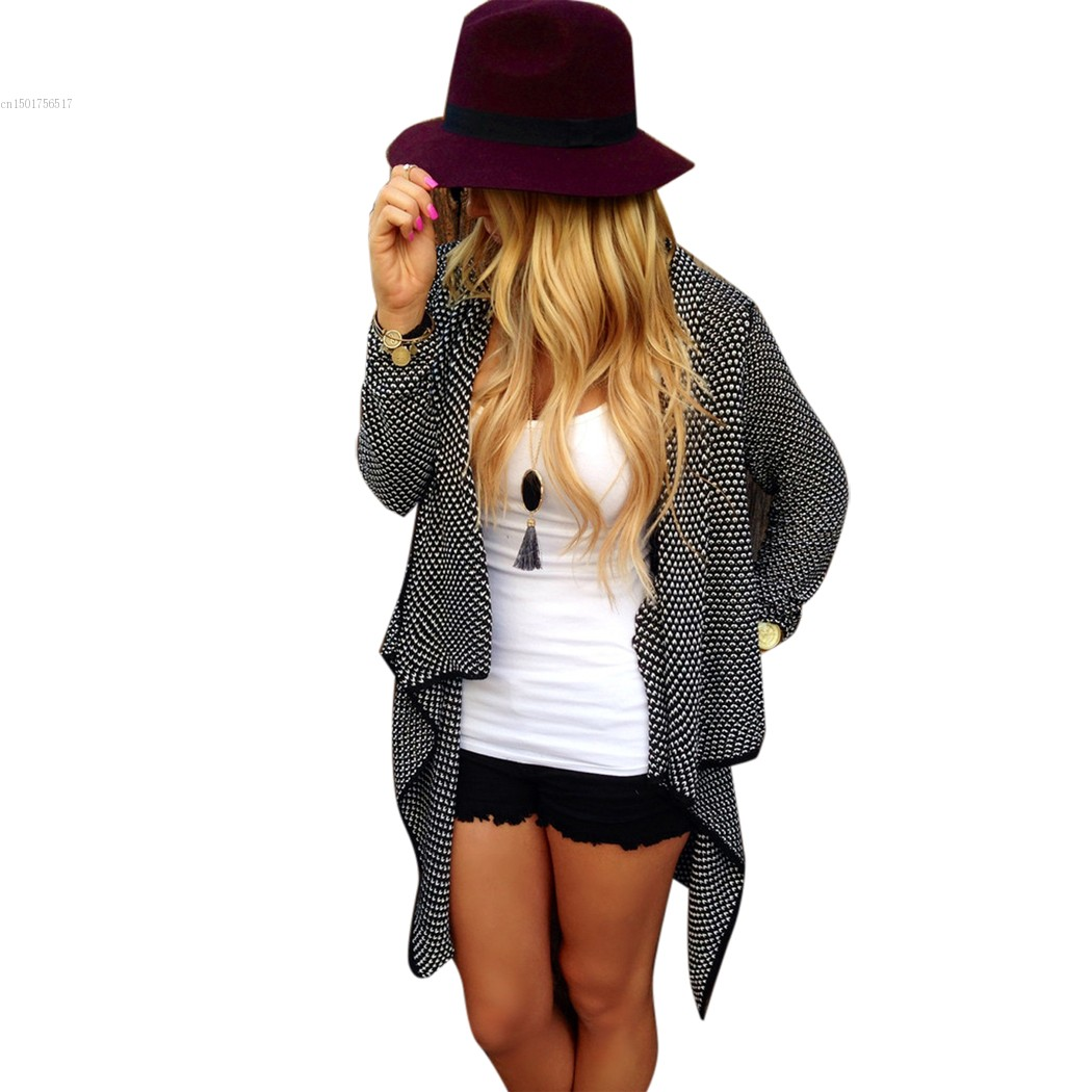 New 2015 Women Loose Casual Cardigan Fashion Ladies Long Sleeve Open Neck Irregular Knitted Sweater S-XL