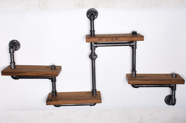 1PC Industrial Pipe Bathroom Shelf Metal Wall Mounted Living Room ...