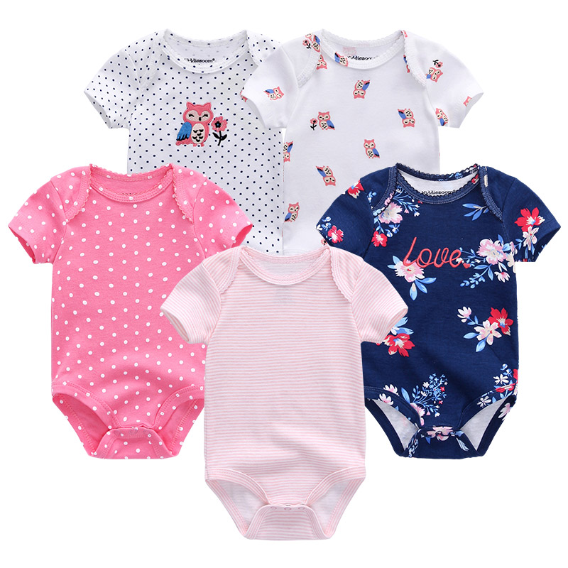 2019 5PCS/LOT Unicorn Baby Girl Clothes Baby Bodysuits Baby Boy Clothes Roupas de bebe Girls Clothing 0-12M Short Sleeve Print 1