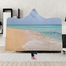 Yoga mat Hooded Blankets Magic Hat Blanket Thick Double-layer Plush 3D Digital Printing Beach scenery Series