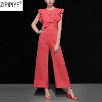 High Qualioty 2018 Summer Fashion Women Streetwear Jumpsuit O Neck Sleeveless Ruffle Striped Full Length Wide Leg Jumpsuit C1264