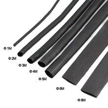 цена на 8 Meter/set Heat Shrink Tube kit 1/2/3/4/5/6/8/10mm 2:1 Black Heat Shrink Tubing Shrinkable Sleeving Wrap DIY Connector wire kit