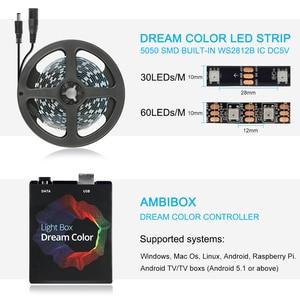 Image 4 - Dream color TV Backlight USB LED Strip RGB 5050 WS2812B LED Lights 5V for HDTV PC Screen Background Bias Lighting 1M 2M 3M 4M 5M