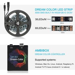 Image 4 - Traum farbe TV Hintergrundbeleuchtung USB LED Streifen RGB 5050 WS2812B Led leuchten 5V für HDTV PC Bildschirm Hintergrund Bias beleuchtung 1M 2M 3M 4M 5M