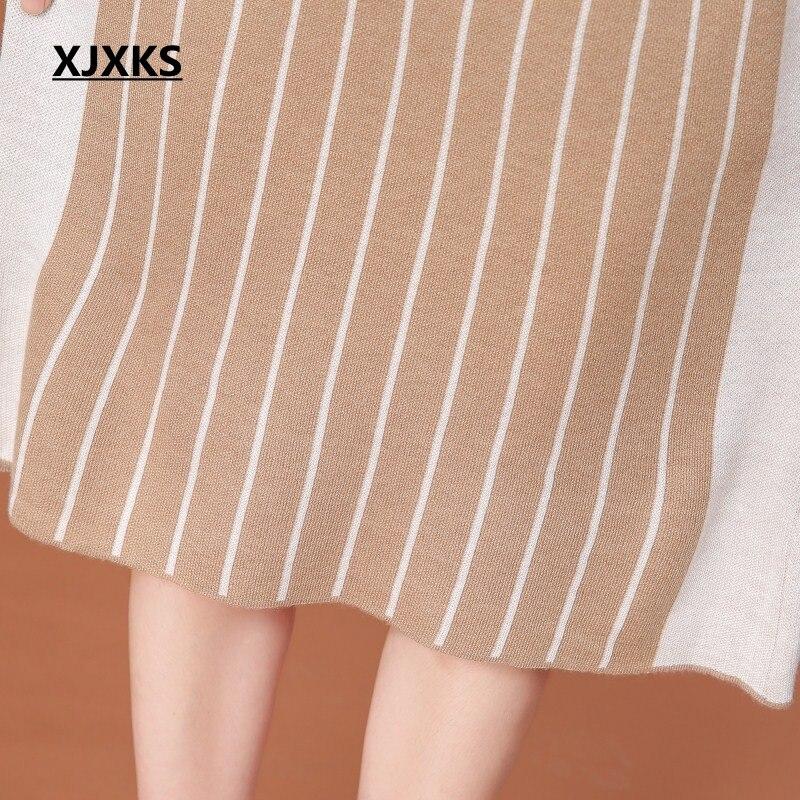 Roulé Cahmere Noir Et Robe Xjxks Col Laine De 2018 Vêtements Tricoter Gamme Streetwear Lâche kaki Femmes Rayé Haut À Pull Automne IHvvqXx4w