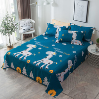 100% Cotton 3pcs Bed Sheets Pillowcase Modern Fashion Home Textiles Bed Linen Blue Petal Printing Pattern Multi Size Optional
