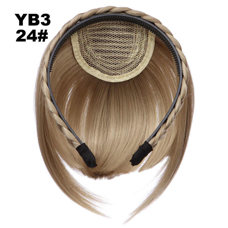 Jeedou Sintetis Hiar Poni Braid Ikat Kepala Rambut Ekstensi Sisi Simetri Pinggiran Poni Hitam Ungu Suhu Tinggi Hairpieces