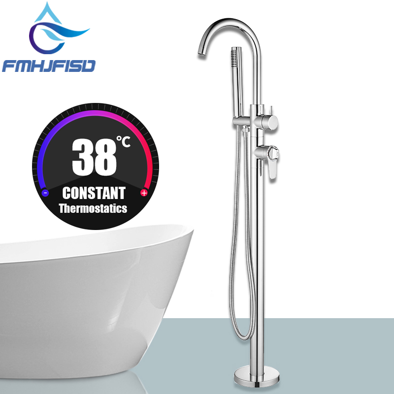 Thermostatic Tub Faucet Floor Mounted Bathtub Mixer Water Tap Diveter Catridge Thermostatic Valve Faucet